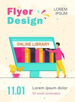 Mały mężczyzna wybiera książkę w szablonie ulotki biblioteki online