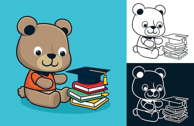Mały miś z książkami i kapeluszem ukończenia szkoły. ilustracja kreskówka wektor w stylu płaskiej ikony