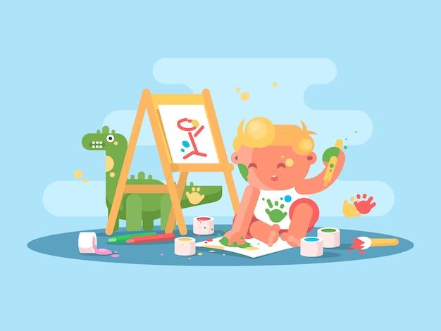 Mały młody artysta rysuje farby na papierze. ilustracja