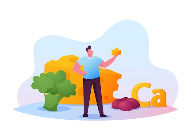 Mały, młody człowiek trzyma kawałek sera z ogromnymi brokułami i jajkami jako źródło wapnia