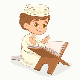 Mały muzułmański chłopiec modli się