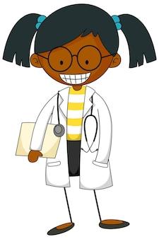 Mały naukowiec doodle kreskówka na białym tle