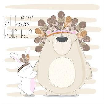 Mały niedźwiedź ręcznie rysowane zwierząt ilustracji wektorowych