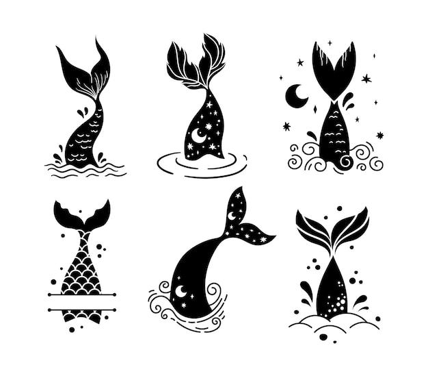 Mały ogon syreny dziecka na białym tle clipart morze podwodne życie magiczny ogon ryby i ramka monogram