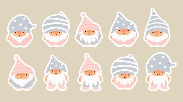 Mały ogród śliczne gnomy i elfy w stylu kreskówki. charakterystyczne wróżki dla dzieci i dzieci. kawaii gnome i projekt magicznego elfa. ilustracja wektorowa.