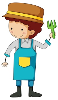 Mały ogrodnik doodle postać z kreskówki