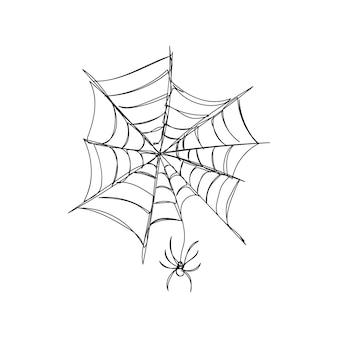 Mały pająk tka sieć jedną grafikę ciągła linia motywu halloweenowego gotyckiego strasznego