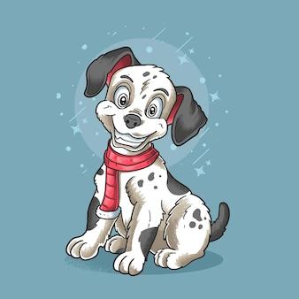 Mały pies dalmatyńczyk nosi ilustracja grunge