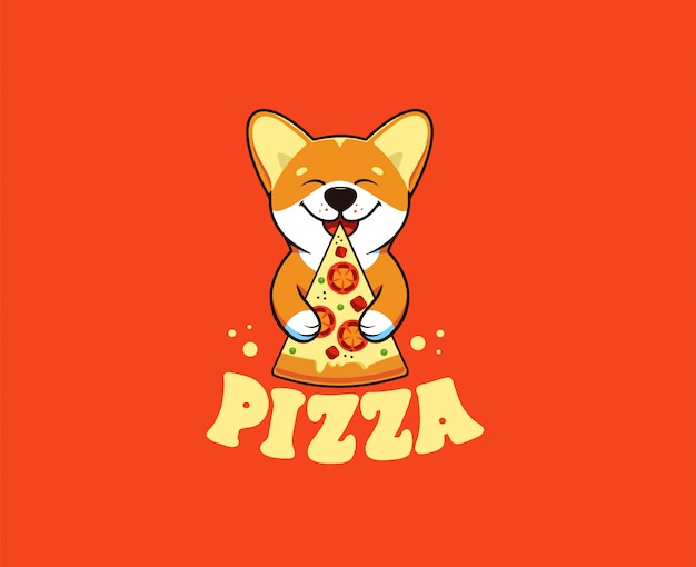 Mały pies je pizzę, logo. postać z kreskówki śmieszne corgi, logo żywności
