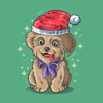 Mały pies nosi santa hat ilustracja grunge