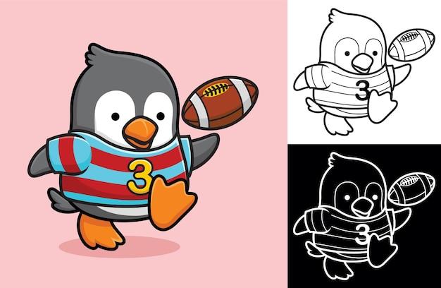Mały pingwin grający w rugby. ilustracja kreskówka w stylu płaskiej ikony