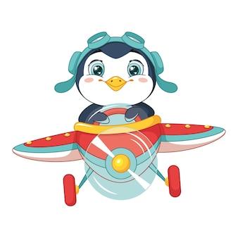 Mały pingwin lecący samolotem