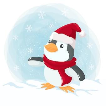 Mały pingwin na boże narodzenie