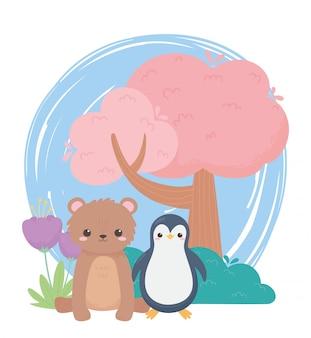 Mały pingwin niedźwiedź drzewo i kwiaty kreskówka zwierzęta w naturalnym krajobrazie