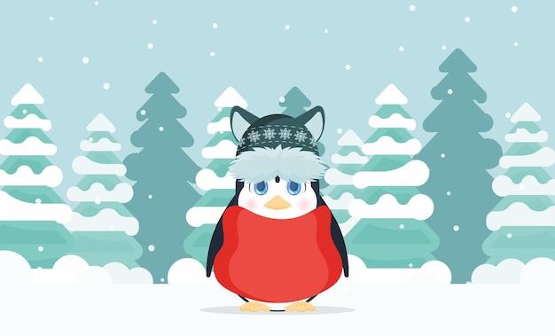 Mały pingwin o uroczym wyglądzie stoi w zimowym, zaśnieżonym lesie. pingwin w zimowej czapce i czerwonej kurtce. wektor.