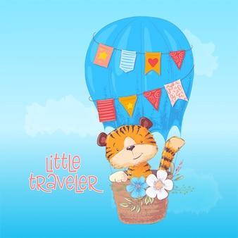 Mały podróżnik. śliczny tygrysi lisiątko lata w balonie. styl kreskówki. wektor