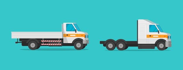 Mały pojazd komercyjny mini ciężarówka lub ciężarówka pojazdu towarowego płaska ilustracja kreskówka