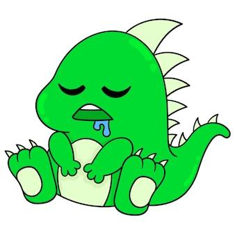 Mały potwór dino siedzi, śliniąc się, śpi, ilustracja wektorowa sztuki. doodle ikona obrazu kawaii.