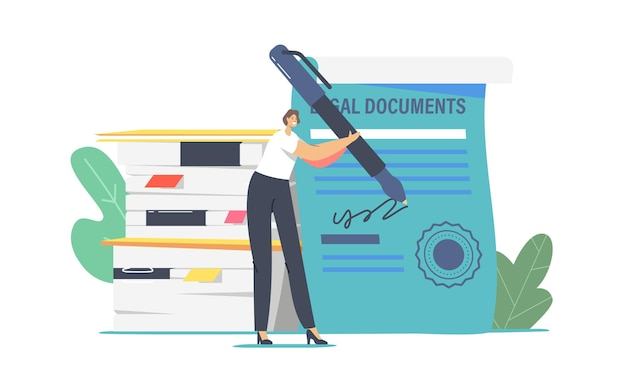 Mały prawnik postać kobieca z ogromnym certyfikatem podpisywania pióra z pieczęcią. profesjonalna obsługa notariusza lub adwokata, kobieta prawnik konsultant podpisuje dokument prawny. ilustracja wektorowa kreskówka ludzie