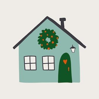 Mały przytulny dom narysowany ręcznie. płaska konstrukcja. ręcznie rysowane modne ilustracje. kolorowa ilustracja wektorowa. wszystkie elementy są izolowane