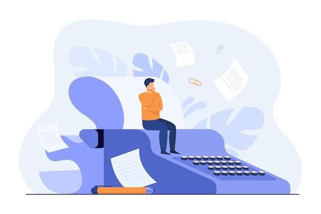 Mały scenarzysta siedzący na maszynie do pisania w stylu retro, myślący o scenariuszu, podczas gdy papierowe szkice latają wokół autora