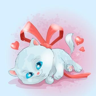 Mały śliczny biały kotek z czerwoną wstążką. słodki kociak. może być używany do projektowania nadruków, okolicznościowych uroczystości baby shower i zaproszenia.
