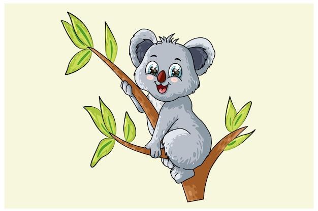 Mały słodki koala dziecko na drzewie, projekt ilustracja kreskówka zwierząt