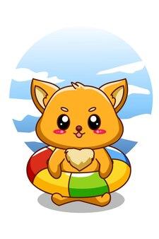 Mały słodki lis w letnie wakacje ilustracja kreskówka