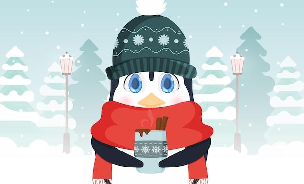 Mały słodki pingwin w zimowej czapce i szaliku trzyma w rękach gorący napój. ilustracja wektorowa.