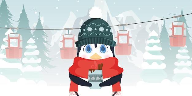 Mały słodki pingwin w zimowej czapce i szaliku trzyma w rękach gorący napój. kolejka linowa z przyczepami w zimowym lesie. wektor