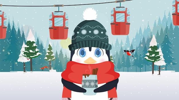 Mały słodki pingwin w zimowej czapce i szaliku trzyma w rękach gorący napój. kolejka linowa z przyczepami w zimowym lesie. wózek linowy. ilustracja wektorowa.