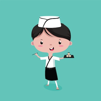Mały słodki szef kuchni sushi