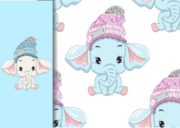 Mały słoń siedzi