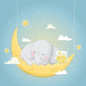 Mały słoń śpi z gwiazdami