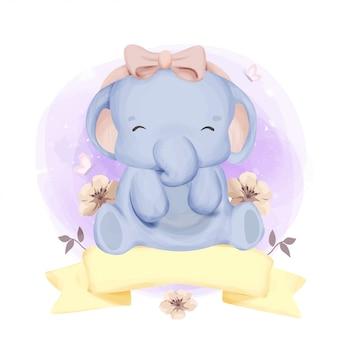 Mały słoń ze wstążką