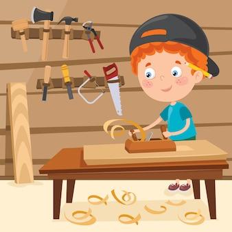 Mały stolarz kreskówka pracuje z drewna