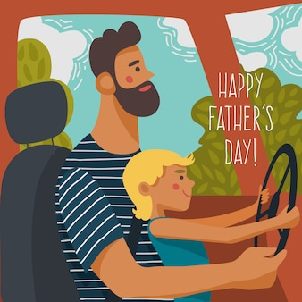 Mały syn siedzi na kolanach ojca i kręci kierownicą.