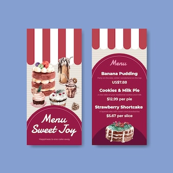 Mały szablon menu z zimowymi słodyczami w stylu przypominającym akwarele
