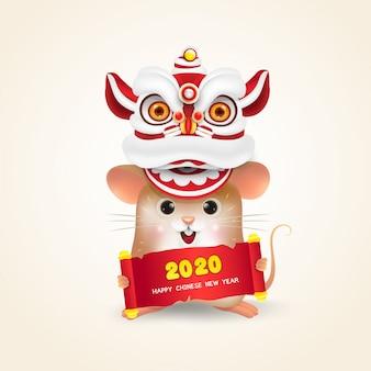 Mały szczur lub mysz chiński nowy rok