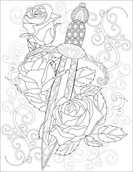 Mały sztylet z kwiecistym tłem bezbarwny rysunek linii mały nóż z ostrym ostrzem