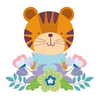 Mały tygrys kwitnie kreskówek ślicznych zwierzęcych charakterów liście natury