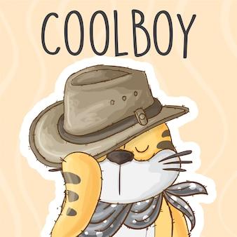 Mały tygrys z kowbojskim kapeluszem - wektor