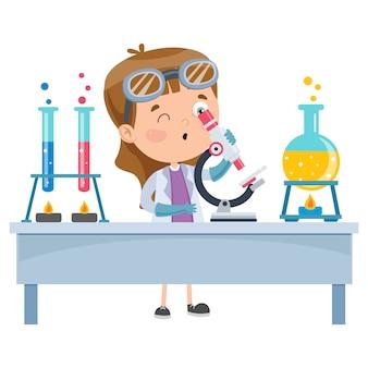 Mały uczeń robi eksperyment chemiczny