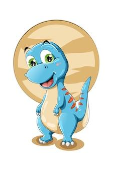 Mały, uroczy, mały, błękitny dinozaur