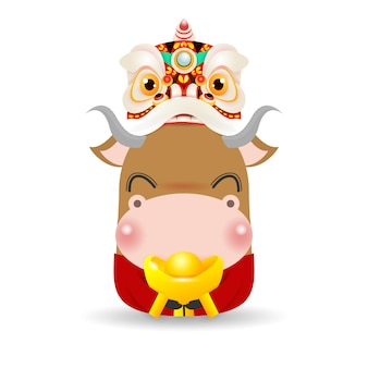 Mały wół z lion dance head z chińskim złotym wlewkiem
