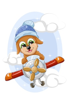 Mały zabawny brązowy pies leci w samolocie
