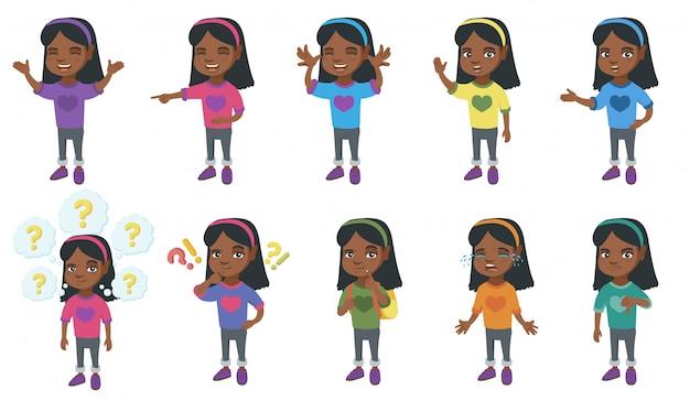 Mały zestaw znaków afrykańskiej dziewczyny