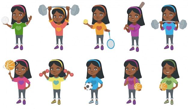 Mały Zestaw Znaków Afrykańskiej Dziewczyny Premium Wektorów