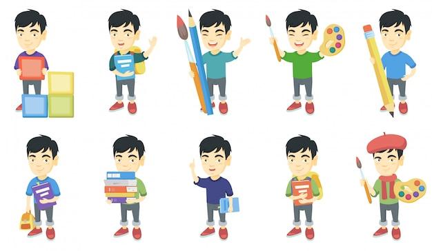 Mały zestaw znaków azjatycki chłopiec