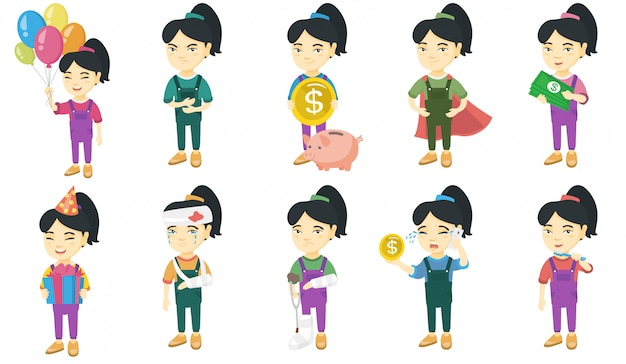 Mały zestaw znaków azjatyckie dziewczyny